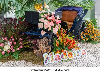 Old wagon in exhibition in Madeira Flower Festival in Funchal city, Madeira island, Portugal.