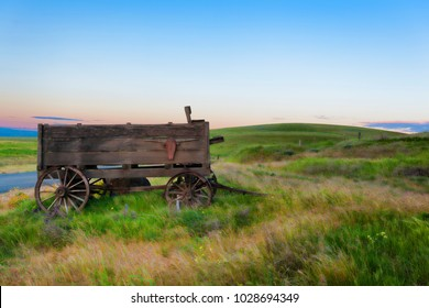Old wagon on the Dallas Mountain Ranch, a popular hiking and picture taking state park and Natural Preserve in the Columbia River Gorge, in Washington State.
