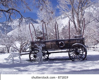 old wagon in the snow