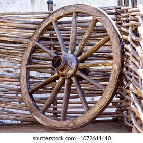 old wagon wheel at a farm