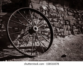 An old wagon wheel is found near the Colorado River in Arizona.
