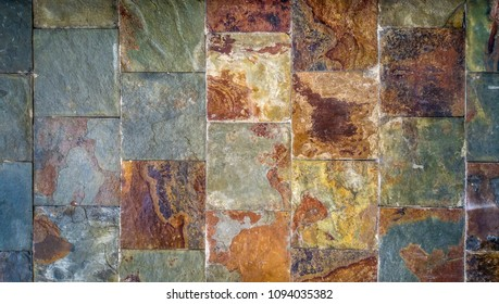 Old wall background made of rust-colored tiles in a dirty grungy texture style