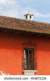Old Wall, door and window in colonial house. Antigua Guatemala