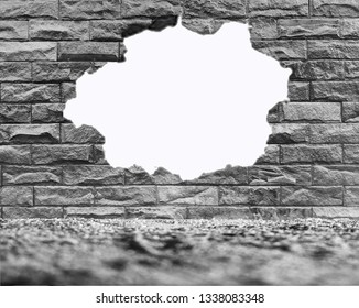 The old wall has holes, cracks, white spaces, can enter text.
