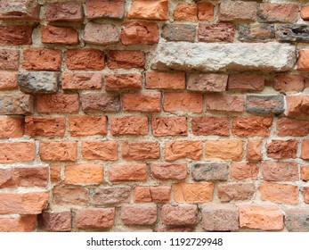 Old wall of red brick, background