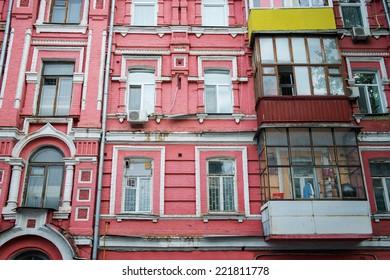 Old wall residential building in Kiev