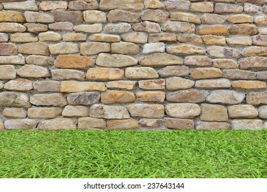 old wall sand stone texture with grass garden tree background