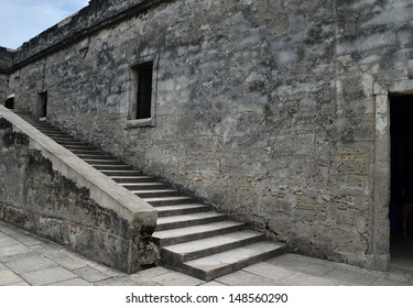 Old wall and stairs in ancient Spanish fort