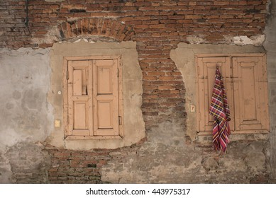 Old wall and two  windows