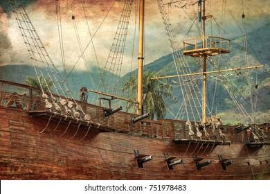 Old war sailing ship in Caracas (Venezuela).