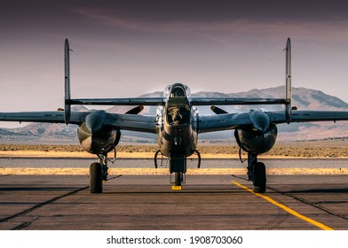 old warbird parked on a desert airport. This plane is still airworthy.