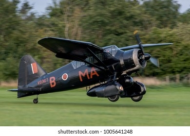 Old Warden Aerodrome, Biggleswade, Bedfordshire, UK AUGUST 19 2017 - A Westland Lysander landing on a grass airstrip