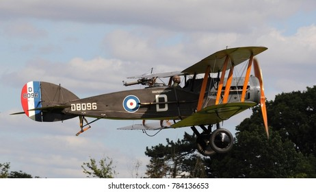 Old Warden Airfield, Beds / UK - 08/06/17: 1918 Bristol F2.B fighter in 208 Squadron markings taking off at the 2017 Edwardian Pagent held by the Shuttleworth Collection.