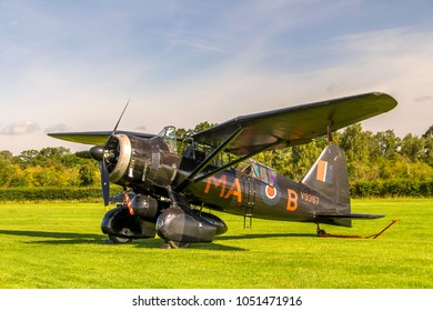 OLD WARDEN, BEDFORDSHIRE, UK – AUGUST 6, 2017: Westland Lysander IIIA V9367 G-AZWT (CN Y1536), in 161 Squadron markings, on static display at Shuttleworth Airfield.