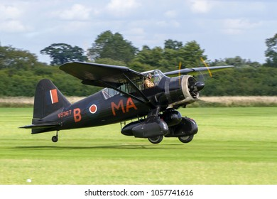 OLD WARDEN, BEDFORDSHIRE, UK – AUGUST 6, 2017: Westland Lysander IIIA V9367 G-AZWT (CN Y1536), in 161 Squadron markings, on display at Shuttleworth Airfield.