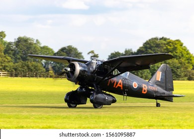 OLD WARDEN, BEDFORDSHIRE, UK – JULY 7, 2019: Westland Lysander IIIA V9367 G-AZWT (CN Y1536), in 161 Squadron markings, taxis in at Old Warden airfield during the Shuttleworth Military Airshow.