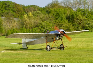 OLD WARDEN, BEDFORDSHIRE, UK – MAY 6, 2018: 1912 Blackburn Monoplane Type D, the oldest British flying aeroplane, carries out a display at Old Warden during the Premier and 100 Years of RAF airshow.