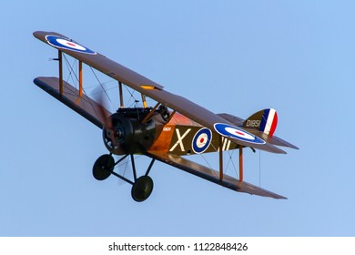 OLD WARDEN, BEDFORDSHIRE, UK – MAY 6, 2018: 1918 Sopwith Camel (Replica) D1851 (G-BZSC) 'Ikanopit', in 70 Sqn markings, the first frontline RFC squadron to receive the type, on display at Old Warden.