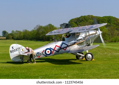 OLD WARDEN, BEDFORDSHIRE, UK – MAY 6, 2018: 1937 Hawker Demon 1 K8203 (G-BTVE), in 64 Squadron markings based at RAF Church Fenton, displays at Old Warden's Season Premiere &100 Years of RAF airshow.