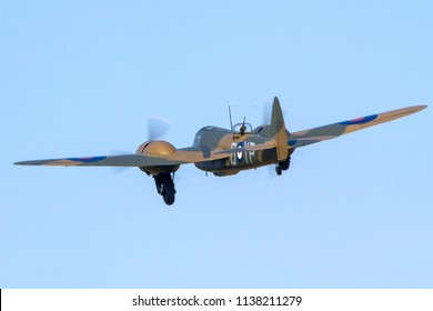 OLD WARDEN, BEDFORDSHIRE, UK – MAY 6, 2018: Bristol Blenheim Mk. I YP-Q L6739 (G-BPIV) carries out a display at Old Warden airfield during the Premier and 100 Years of the RAF Airshow.
