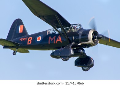 OLD WARDEN, BEDFORDSHIRE, UK – MAY 6, 2018: Westland Lysander IIIA V9367 G-AZWT, employed by No. 161 RAF Squadron on clandestine night flying operations in occupied Europe, displays at Old Warden.