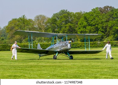 OLD WARDEN, BEDFORDSHIRE, UK – MAY 6, 2018: Blackburn B.2 Series 1 G-AEBJ, a side-by-side trainer of the 1930s, is walked out at Old Warden to display at the Premier & 100 Years of the RAF Airshow.