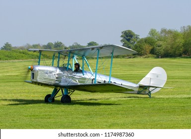 OLD WARDEN, BEDFORDSHIRE, UK – MAY 6, 2018: Blackburn B.2 Series 1 G-AEBJ, a side-by-side trainer of the 1930s, taxis in after display at Old Warden during the Premier & 100 Years of the RAF Airshow.