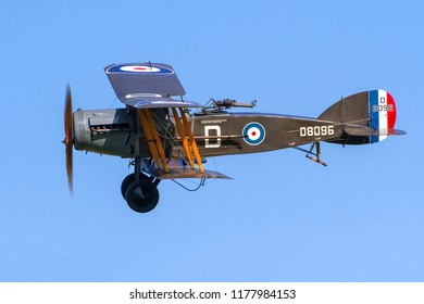OLD WARDEN, BEDFORDSHIRE, UK – MAY 6, 2018: 1918 Bristol F2.B Fighter D8096, in generic WW1 western front markings, served in Turkey in 1923, on display at Old Warden during the Premiere airshow.