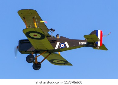 OLD WARDEN, BEDFORDSHIRE, UK – MAY 6, 2018: 1917 Royal Aircraft Factory S.E.5A F904 (G-EBIA), in 84 Squadron markings, on display at Old Warden during the Premier and 100 Years of the RAF Airshow.