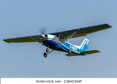 OLD WARDEN, BEDFORDSHIRE, UK – MAY 6, 2018: Cessna 172 Skyhawk P G-NWFS, part of the North Weald Flying Group,  departs out of Old Warden after their Premiere & 100 Years of RAF Airshow.