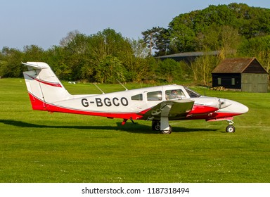 OLD WARDEN, BEDFORDSHIRE, UK – MAY 6, 2018: Piper PA-44-180 Seminole G-BGCO, operated by BAe Systems at Warton, taxis to depart out of Old Warden after their Premiere & 100 Years of RAF Airshow.