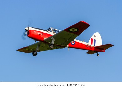 OLD WARDEN, BEDFORDSHIRE, UK – MAY 6, 2018: De Havilland Canada DHC-1 Chipmunk T10 WP901 (G-BWMT), maintained in RAF colours, departs out of Old Warden after their Premiere & 100 Years of RAF Airshow.