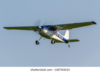 OLD WARDEN, BEDFORDSHIRE, UK – MAY 6, 2018: Cessna 180E N71CW departs out of Old Warden after their Premiere & 100 Years of RAF Airshow.