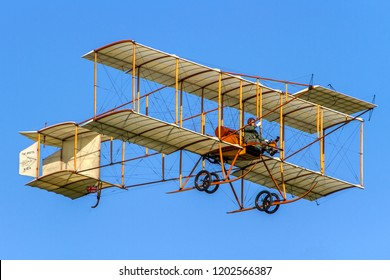 OLD WARDEN, BEDFORDSHIRE, UK – MAY 6, 2018: 1910 Bristol Boxkite (Replica), built for film 'Those Amazing Men In Their Flying Machines', displays at Old Warden's Premiere & 100 Years of RAF Airshow.