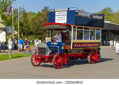 OLD WARDEN, BEDFORDSHIRE, UK – MAY 6, 2018: Wellingborough Omnibus Company's 1913 Leyland S3 LF-9967 at Old Warden during the Shuttleworth's Premier and 100 Years of the RAF Airshow.