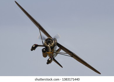 OLD WARDEN, BEDFORDSHIRE, UK – OCTOBER 5, 2014: Westland Lysander IIIA V9367 G-AZWT (CN Y1536), in 161 Squadron markings, carries out a display over Old Warden, during the Shuttleworth Airshow.