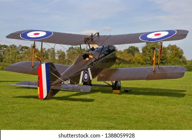 OLD WARDEN, BEDFORDSHIRE, UK – OCTOBER 5, 2014: 1917 Royal Aircraft Factory S.E.5A F904 (G-EBIA), in 84 Squadron markings, stands on display at Old Warden Airfield, during a Shuttleworth Airshow.