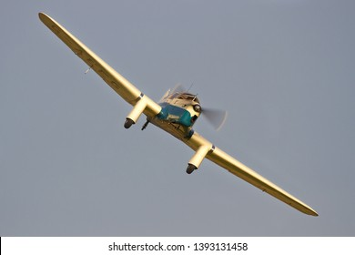OLD WARDEN, BEDFORDSHIRE, UK – OCTOBER 5, 2014: Miles M3A Falcon Major G-AEEG carries out a display at Old Warden during the Shuttleworth Airshow.