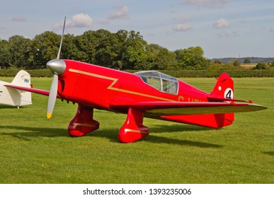 OLD WARDEN, BEDFORDSHIRE, UK – OCTOBER 5, 2014: Beale Replica Percival Mew Gull G-HEKL on static display on the flight line at Old Warden during the Shuttleworth Airshow.