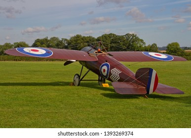 OLD WARDEN, BEDFORDSHIRE, UK – OCTOBER 5, 2014: 1917 Bristol M1C (Replica) C4918 'Bullet' G-BWJM, a British monoplane scout fighter of the First World War, on static display at Old Warden airfield.