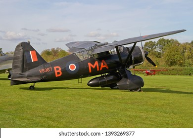 OLD WARDEN, BEDFORDSHIRE, UK – OCTOBER 5, 2014: Westland Lysander IIIA V9367 G-AZWT (CN Y1536), in 161 Squadron markings, on static display at Old Warden, during the Shuttleworth Airshow.