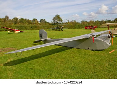 OLD WARDEN, BEDFORDSHIRE, UK – OCTOBER 5, 2014: English Electric Wren No. 4 G-EBNV, on static display on the flight line at Old Warden airfield during the Shuttleworth Airshow.