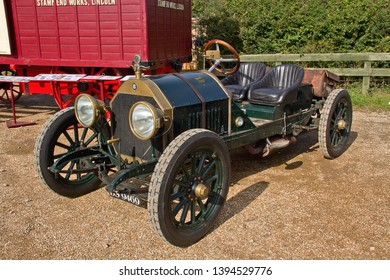 OLD WARDEN, BEDFORDSHIRE, UK – OCTOBER 5, 2014: 1913 Chalmers Model 17 vintage sports car, registration BS9469, on static display at Old Warden airfield.