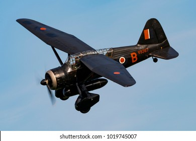 Old Warden, England - June 17 2017: A Westland Lysander in flight from the Shuttleworth Collection Bedfordshire.