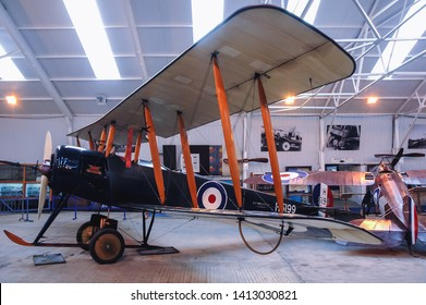 Old Warden, UK - September 27, 2006: Avro 504K airplane in Shuttleworth Collection museum located at Aerodrome in Old Warden village in Bedfordshire county