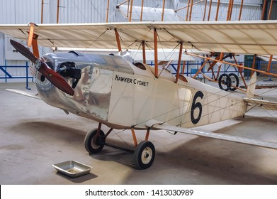 Old Warden, UK - September 27, 2006: Hawker Cygnet airplane in Shuttleworth Collection museum located at Aerodrome in Old Warden village in Bedfordshire county