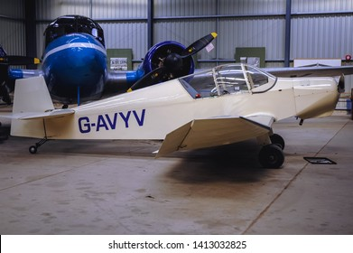 Old Warden, UK - September 27, 2006: Jodel D120 Paris-Nice plane in Shuttleworth Collection museum located at Aerodrome in Old Warden village in Bedfordshire county