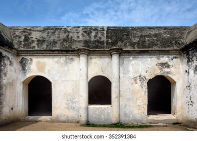 Old warehouse inside Dutch fort in Sadras, India