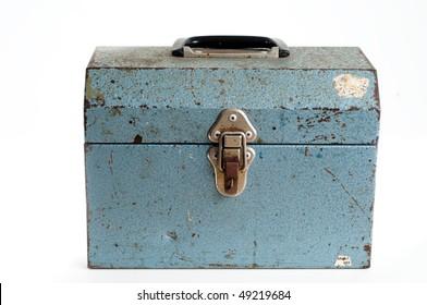 Old warn Blue metal tool box on white