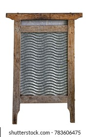 old washboard in a wooden frame on the white isolated background